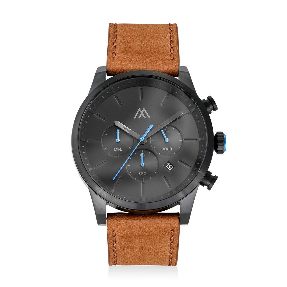 Quest Herren Chronograph Quarz Uhr mit Lederarmband - Zifferblattfarbe Schwarz