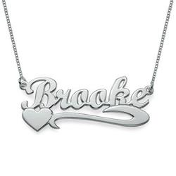 925 Silber Namenskette mit seitlichem Herz product photo