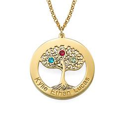 Vergoldete Lebensbaumkette mit Gravur und Geburtssteinen product photo