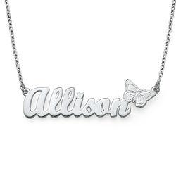 925er silber Namenskette mit Schmetterling Produktfoto