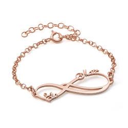 Infinity-Armband mit 2 Namen und Rosé-Vergoldung Produktfoto