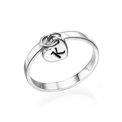 Sterling Silber Initialenring mit Anhänger product photo
