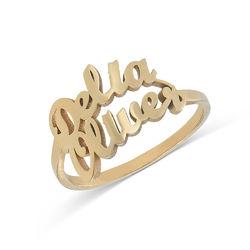 Namensring mit zwei Namen und Goldbeschichtung Produktfoto