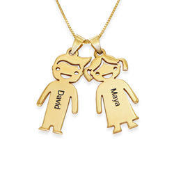 Kette für Mütter mit Kinder-Anhängern aus 417er-Gelbgold product photo
