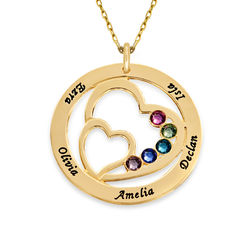 Geburtssteinkette mit konzentrischen Herzen - aus 375er Gold product photo