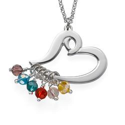 Silberne Herzkette mit schwebenden Geburtssteinen Produktfoto