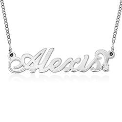 Kleine 925 Silber Carrie Namenskette mit Diamant Produktfoto