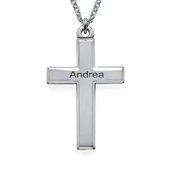 Personalisierte Silber Kreuzkette mit gerillten Kanten product photo