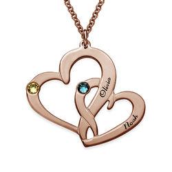 Rosévergoldete Zwei-Herzen-Kette mit Gravur product photo