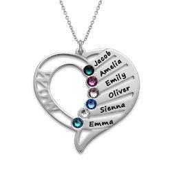 Gravierbare Geburtsstein Halskette für Mütter Produktfoto