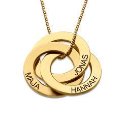 Kette mit gravierten russischen Ringen aus Gold-Vermeil product photo