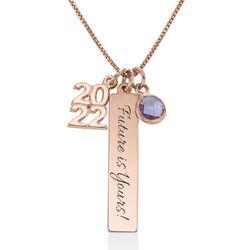 Charms Halskette zum Schulabschluss aus Rosévergoldetes 925er Produktfoto