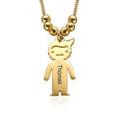 750er vergoldete Silber Kette für Mama mit Kinder Anhängern und product photo
