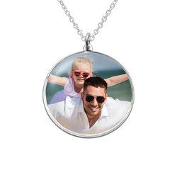 Runde Foto Halskette aus Sterling Silber Produktfoto