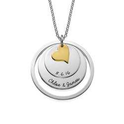 Liebes-Disk-Kette mit Gravur in Silber product photo