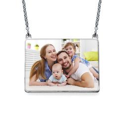 Rechteckige Foto-Halskette mit Gravur Produktfoto
