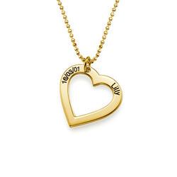 750er Vergoldete Herzkette mit Gravur Produktfoto