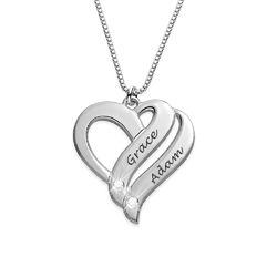 Kette aus Sterlingsilber Zwei Herzen auf immer vereint und Diamant product photo
