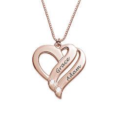 Zwei-Herzen-für-immer-vereint-Kette mit Diamanten und Produktfoto