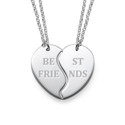 Trennbare Best Friends Herzekette in 925er Silber Produktfoto