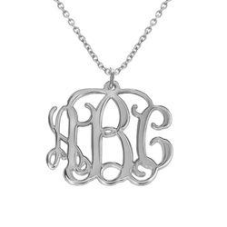 Monogramm Silberkette mit Initialen Produktfoto