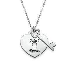 Individuelle Herz Kette mit Herzanhänger und Schlüssel Produktfoto