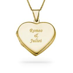 Graviertes Herz Medaillon aus 750er vergoldetem 925er Silber Produktfoto