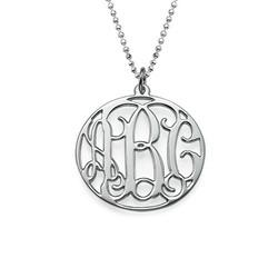 Rundes Monogramm Amulett mit Initialen aus 925er Silber Produktfoto