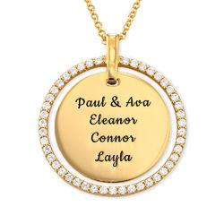 Gold-beschichtete Mama-Scheibenkette mit Gravur und Kristallen Produktfoto