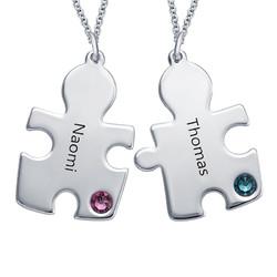 Puzzle-Halskette mit Geburtssteinen aus Sterling Silber product photo