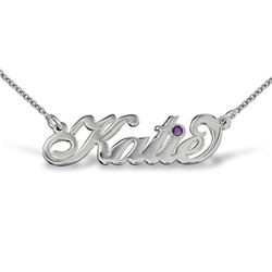 Silber Carrie Namenskette mit Swarovski Kristall product photo