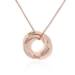 Roségold-beschichtete Halskette mit 4 russischen Ringen und Gravur product photo