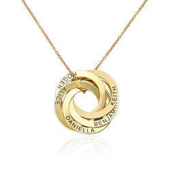 Gold-beschichtete Halskette mit 5 russischen Ringen und Gravur product photo