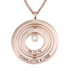Roségold-beschichtete Lebenskreis-Kette mit Gravur und Diamant Produktfoto