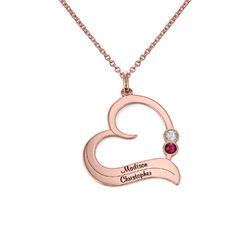 Rose vergoldete Geburtsstein-Herzkette mit gravierten Namen product photo