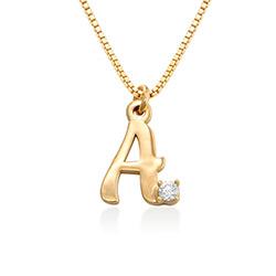 Vergoldete Initial-Halskette mit Diamant Produktfoto