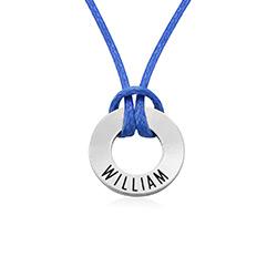 ID Wax Cord Halskette in Sterling Silber für Jungen Produktfoto