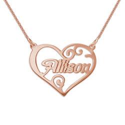 Personalisierte Herz Namenskette aus 750er Roségold überzogenem Silber Produktfoto