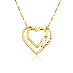 Gravierte Herzkette mit 2 namen aus Vergoldung Produktfoto