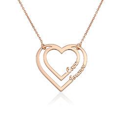 Gravierte Herzkette mit 2 namen aus Rosévergoldung Produktfoto