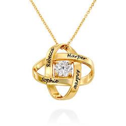 Gravierte Eternal-Halskette mit kubischen Zirkonia in Goldplattierung Produktfoto