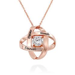 Gravierte Eternal-Halskette mit kubischen Zirkonia in Roségold Produktfoto
