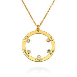 Die Familienkreis Halskette mit Geburtssteinen aus 750er vergoldetes Produktfoto