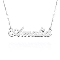 Kleine klassische Namenshalskette mit 0,05 ct Diamant aus Produktfoto