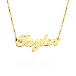 Kleine klassische Namenshalskette mit 0,05 ct Diamant aus Gold-Vermeil Produktfoto