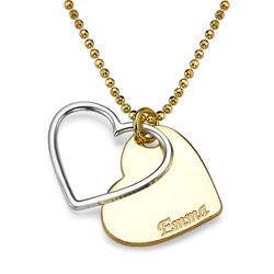 Herz-Halskette für Paare in zwei Tönen mit Wunschgravur product photo