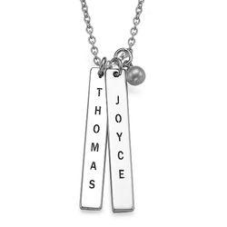 925er Silber Halskette mit graviertem Namensanhänger product photo