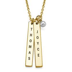 750er vergoldete Silber Halskette mit graviertem Namensanhänger product photo