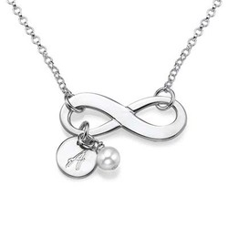 Silber Infinitykette mit Initiale und Süßwasserperle product photo