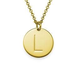 Vergoldete Halskette mit Buchstaben und mit gravierbarem runden product photo